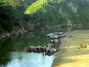 Sangu River - View of the Sangu River from Bandarban Town in 2004.