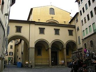Santa Felicita, Florence - West front of Santa Felicità behind Vasari Corridor.