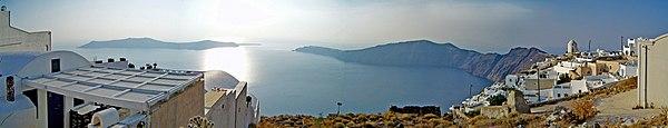 Panoramic view of the Santorini caldera, taken from Imerovigli