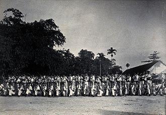 Sarawak Rangers - A line-up of armed Sarawak Rangers.