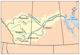 Map of Saskatchewan River & Watershed