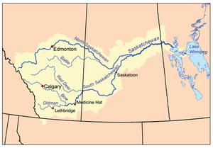 Saskatchewan River - Image: Saskatchewanrivermap
