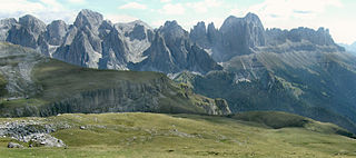 Rosengarten group mountain range in the Dolomites