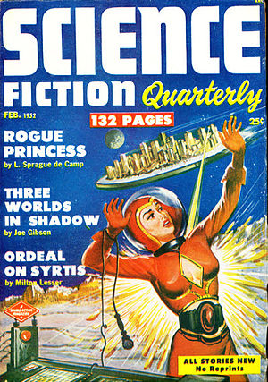 "Robert A. W. Lowndes - Lowndes's ""Intervention"" (written under his Michael Sherman byline) was the cover story on the February 1952 issue of Science Fiction Quarterly"