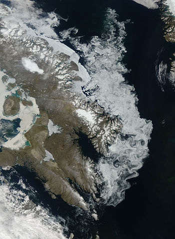 The Barnes Ice Cap, containing remnants of the...