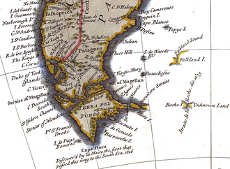 Beauchene Island - Beauchene Island depicted on an 18th-century map, much further west than actual position (R.W. Seale, c. 1745, fragment)