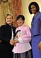 Secretary Clinton With First Lady Michelle Obama and Honoree Dr. Lee Ae-ran of the Republic of Korea (130865241) (cropped).jpg
