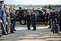 Secretary of Defense Ash Carter hosts an enhanced honor cordon welcoming India's Minister of Defense Manohar Parrikar to Pentagon at the Pentagon River Entrance.jpg