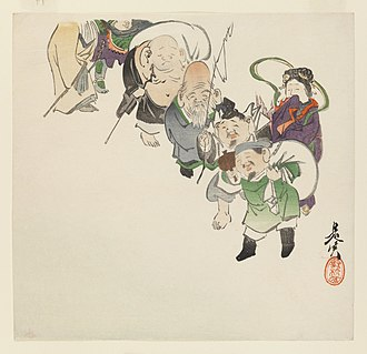 Seven Lucky Gods - Brooklyn Museum - Shibata Zeshin (Japanese, 1807−1891). Seven Gods of Good Luck, c. 1885