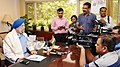 Shri Hardeep Singh Puri interacting with the media after taking charge as the Minister of State for Housing & Urban Affairs (Independent Charge), in New Delhi on September 04, 2017.jpg