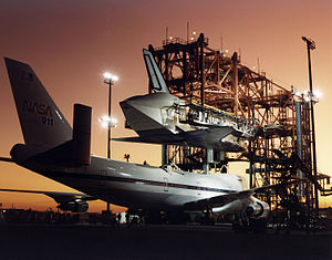 Shuttle Carrier Aircraft - Atlantis being mated to SCA N911NA at Dryden Flight Research Center