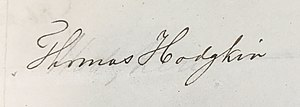 Thomas Hodgkin - Image: Signature Thomas Hodgkin 1840, Royal Medical Chirurgical Society Obligation Book 1805