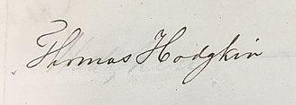 Thomas Hodgkin - Image: Signature Thomas Hodgkin 1840, Royal Medical Chirurgical Society Obligation Book 1805