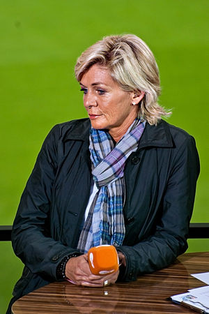Silvia Neid - Neid during a TV interview at the 2011 World Cup