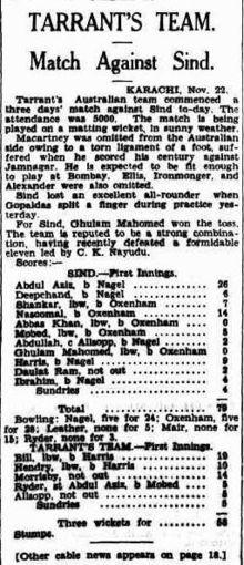 Sindh Cricket Team Match mit Australien im Jahr 1935.jpg
