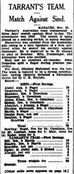 Sindh Cricket team match with Australia in 1935