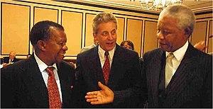 """Free Market Foundation - The """"Free Market Award"""" 2000 ceremony. From left to right: Ketumile Masire, Leon Louw and Nelson Mandela."""
