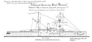 Russian battleship Sissoi Veliky - Image: Sisoy Veliky drawing 1892 (barbette)