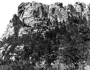 Construction of Mount Rushmore - Mount Rushmore before construction around 1905.