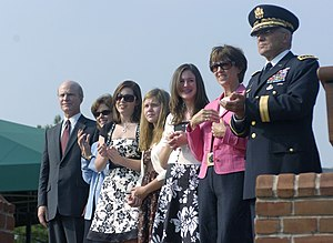 Pete Geren - Army Secretary Pete Geren (far left), accompanied by (from left to right) his wife, Beckie, his children, Mrs. Shelia Casey and Army Chief of Staff Gen. George W. Casey Jr., during Mr. Geren's arrival ceremony as Secretary of the Army, Aug. 30, 2007.
