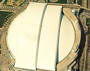 Rogers Centre - Overhead view of Rogers Centre with the roof closed, as seen from the CN Tower