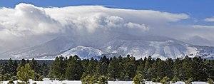Kendrick Peak - Snow clouds over Kendrick Mountain