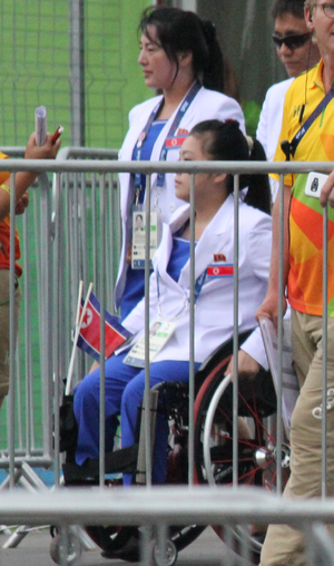 North Korea at the 2016 Summer Paralympics - Song Kum-jong about to board the bus to attend the Opening Ceremonies of the Rio Games.
