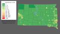 Carte illustrant la densité de population du Dakota du Sud.