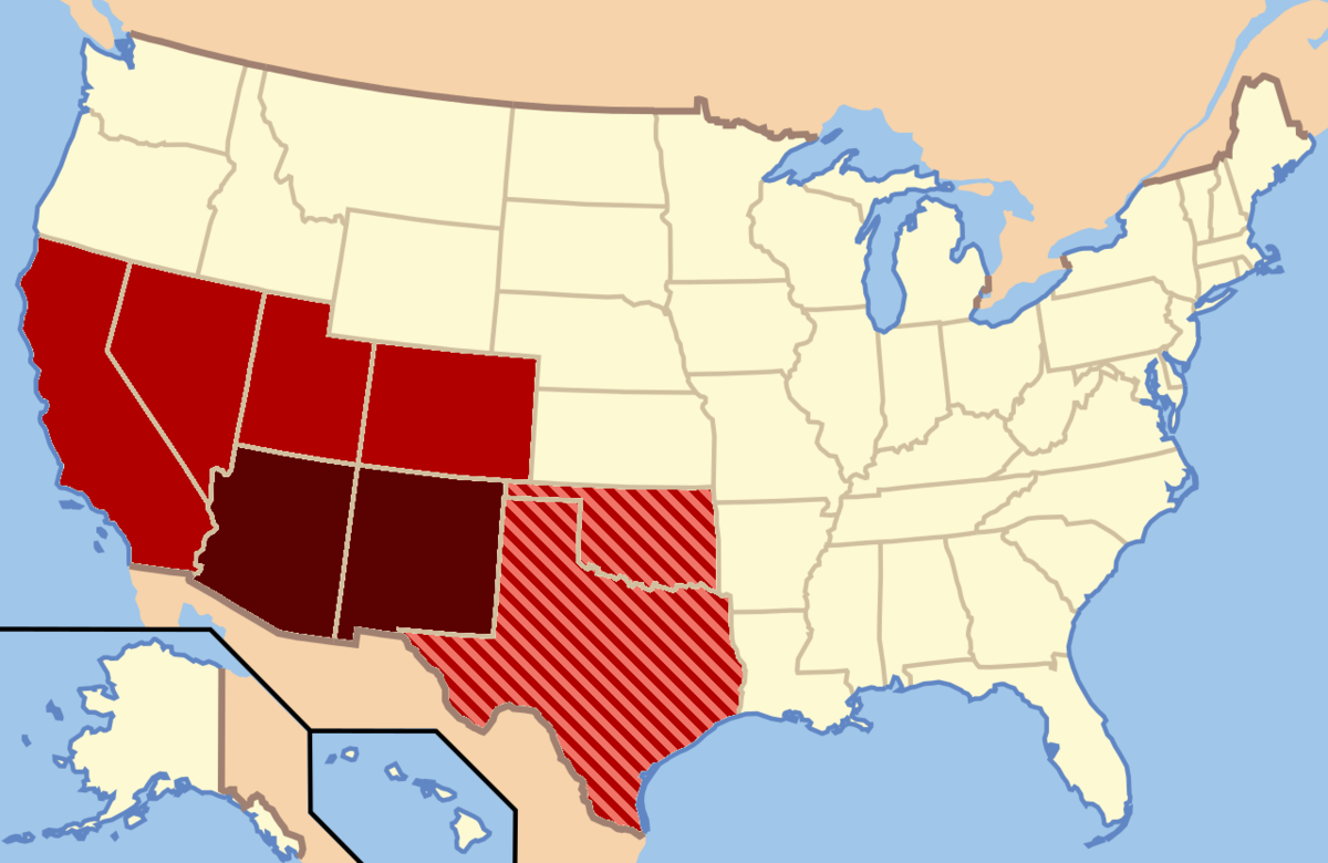 Southwestern United States Wikipedia - Map of us land originally held by mexico