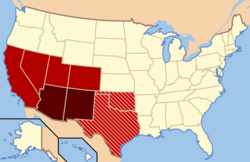 Though regional definitions vary from source to source, Arizona and New Mexico (in dark red) are almost always considered the core, modern-day Southwest. The brighter red and striped states may or may not be considered part of this region. The brighter red states (California, Colorado, Nevada, and Utah) are also classified as part of the West by the U.S. Census Bureau, though the striped states are not; Oklahoma and Texas are often classified as part of the South.[1]