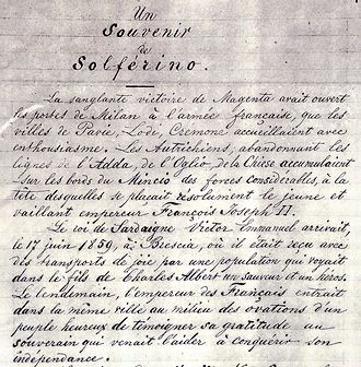 A Memory of Solferino - First page of the manuscript.