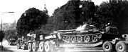 Soviet MAZ-537 trucks transporting tanks