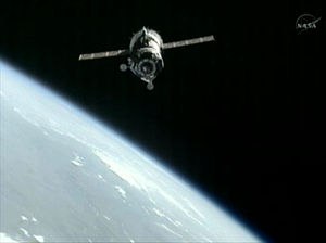 Soyuz TMA-05M - The spacecraft shortly before docking with the ISS on 17 July 2012.