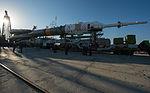Soyuz TMA-08M spacecraft roll out by train 7.jpg