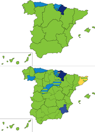 Spanish general election, 1916 - Most voted party by regions and provinces.