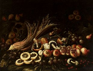 Still life with mushrooms.