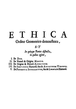Philosophy of Baruch Spinoza - The opening page of Spinoza's magnum opus, Ethics