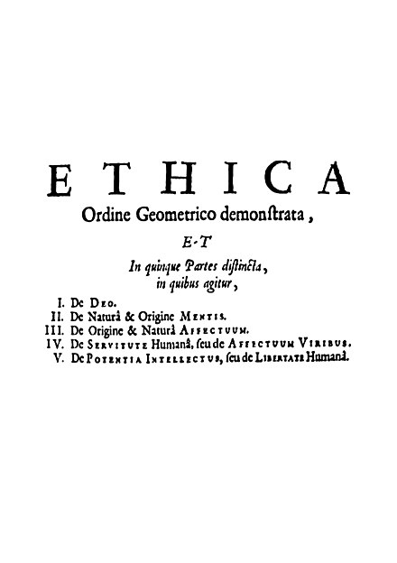 The opening page of Spinoza's magnum opus, Ethics Spinoza Ethica.jpg
