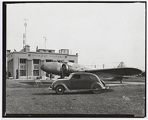 Felts Field - United Airlines Plane and DeSoto at Spokane Airport (Now Felts Field) on July 19, 1934