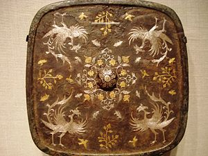 Science and technology of the Tang dynasty - A square bronze mirror with a phoenix motif of gold and silver inlaid with lacquer, 8th century