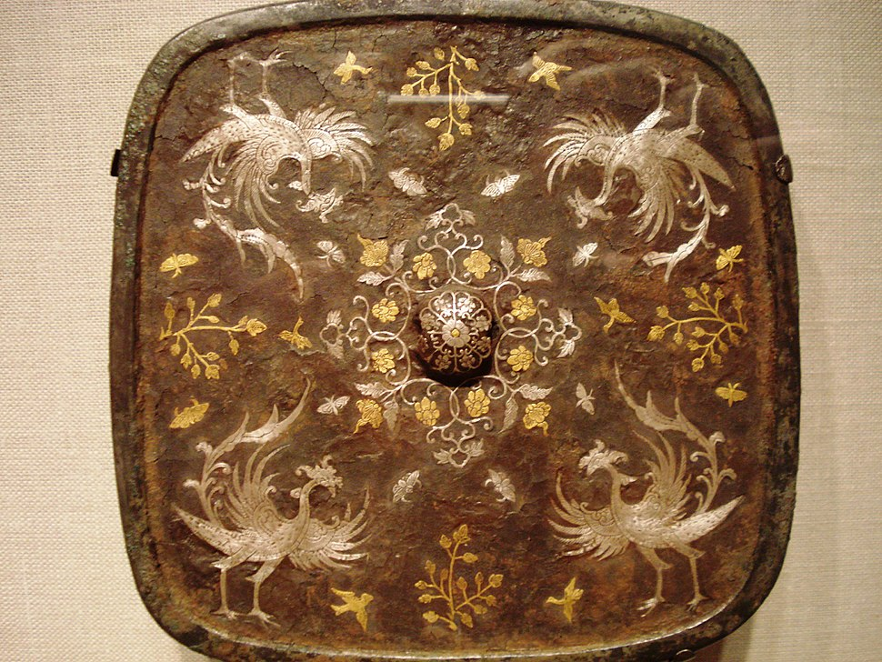 Square mirror with phoenix motif, Tang Dynasty