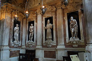 Andrea Sansovino - Image: St. John the Baptist by Andrea Sansovino, early 1500s, and Adam, Zaccariah, and Habakkuk, by Matteo Cividali, second half of the 15th century, marble San Lorenzo (Genoa) DSC01926