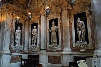Andrea Sansovino - Image: St. John the Baptist by Andrea Sansovino, early 1500s, and Adam, Zaccariah, and Habakkuk, by Matteo Cividali, second half of the 15th century, marble San Lorenzo (Genoa) DSC01926