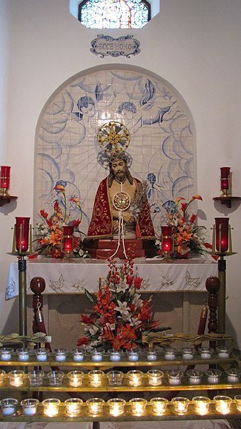 The image of the Lord Holy Christ of the Miracles, in Hamilton, venerated by Azoreans in Bermuda St. Theresa's Cathedral chapel.jpg