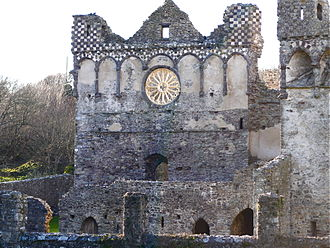 St Davids Bishops Palace - Detail showing wheel window in the east gable of the ruined Great Hall