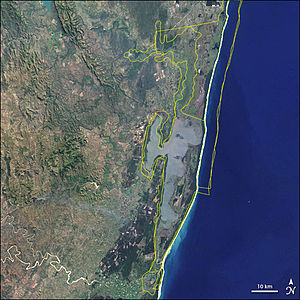 ISimangaliso Wetland Park - Satellite image of the park, with the borders of several conservation areas outlined in yellow.