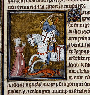 Saint George's Cross - Miniature of Saint George and the Dragon, ms. of the  Legenda Aurea, Paris, 1382 (BL Royal 19 B XVII, f. 109).
