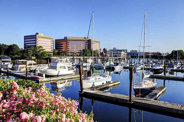 View of Stamford Harbor with 'Stamford Harbor Park' office buildings in the background