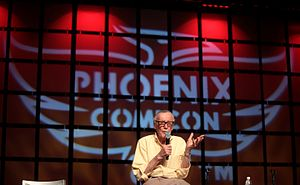 Phoenix Comicon - Stan Lee addressing attendees at the 2014 Phoenix Comicon.
