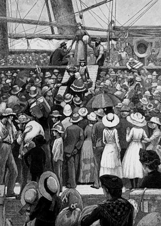 Immigration history of Australia - Drawing of migrants disembarking from a ship, ca. 1885